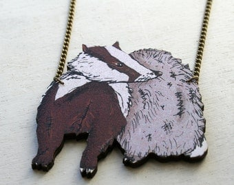 Badger Necklace Cute Necklace Woodcut Woodland Necklace