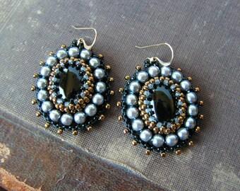 Black Grey Earrings Bead embroidery Earrings Black Grey Dangle Earrings Beadwork earrings Black Onyx Earrings Black Grey MADE TO ORDER
