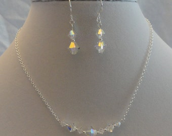925 Swarovski Crystal Necklace and Earring Bridesmaid Set
