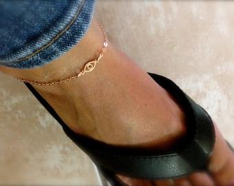 Tiny evil eye ankle bracelet  - eye anklet - protection anklet - mini eye anklet - gold evil eye anklet - silver eye  - rose gold anklet -