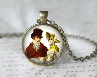 Jane Austen Necklace, Mr Darcy Pendant, Pride And Prejudice Jewelry