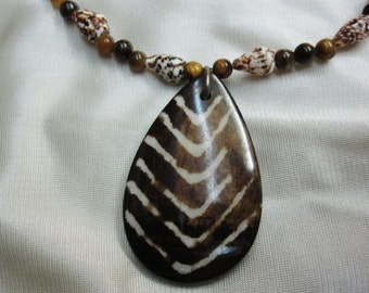 Unique Brown Teardrop Pendant with Chevron Strips on Funky Shells and Tigers Eye Stones an 18 and Half inch Necklace Sturdy Magnetic Clasp
