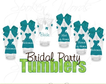 Set of 9 Bridal Party Gifts Wedding Party Gifts Personalized 16 oz. Acrylic Tumblers