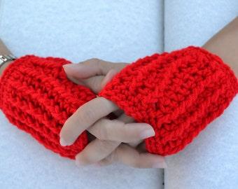 Cherry red hand warmers, fingerless gloves, arm warmers, texting gloves, crochet gloves, wrist warmers, mittens, warm gloves, winter gloves