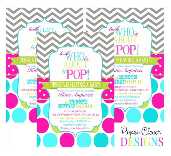 items similar to about to pop baby shower invitations aqua pink