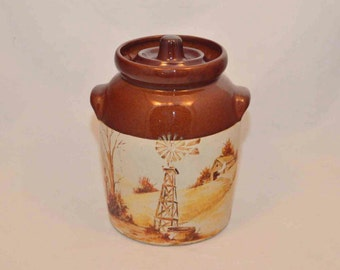 Vintage 1970-1980s Stoneware Cookie Jar RRPCO - Robinson Ransbotton Pottery Co. Roseville Ohio - Hand Painted Country Farm Scene