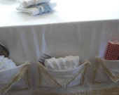 White Cotton Indoor Outdoor Table Runner Ragged Edges with POCKETS Shabby Cottage Chic Party Table