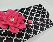 Cash Envelope Wallet with Dividers, Coupon Holder, for use with the Dave Ramsey System -Black Diamonds-
