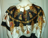 Reserved for D - ETRUSCAN SCARF TOP Blouse Size Small Vintage Nautical