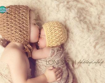Instant Download Pdf Crochet Pattern - No. 42 Little Ripples Baby Bonnet - 4 Sizes
