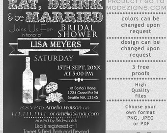 PRINTABLE Bridal Shower Invitation Template, Rustic Bridal Shower Invitation Templates, Wine Shower Invitation Template, Printable Invites
