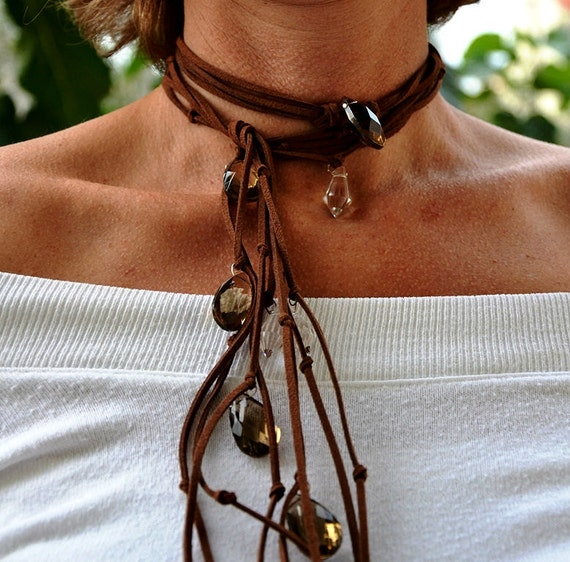 Boho Necklace, Leather Cowgirl accessory, Country western, California Style Bohemian Jewelry, Leather and Crystal