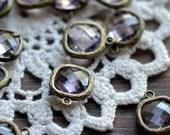 4 - Square Jewel Charms LIGHT AMETHYST Drop Gem Jewels Square 12mm Antique Bronze Plated Brass Bezel Light Purple (AW028)