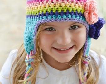 kids hat,  girls hat, little girls hat, rainbow hat, earflap hat, colorful baby hat