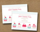 "Valentine Party Invitation   Valentine Birthday   DIY PRINTABLE   Sweet ""Valentine Cupcake"" Party for Girl   Sweet Shoppe Party Invite"