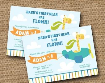 Airplane Birthday Invitation | Baby's First Birthday | Flying Animals, Animal Pilots Invitation | Giraffe, Lion, Bear Party | DIY PRINTABLE