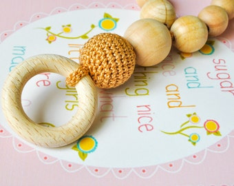 Teething Necklace with wooden ring by SimplyaCircle-Breastfeeding Necklace-Eco-Friendly-Baby Teether-Beige-Mother's day