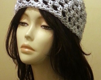 Crocheted Mesh Hat - Lace Hat - Mesh Cap - Beanie - Chunky - FREE UK delivery