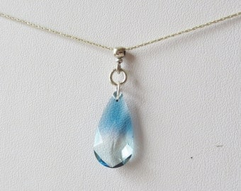 Shades of Blue Crystal Teardrop Pendant and Sterling Silver Necklace