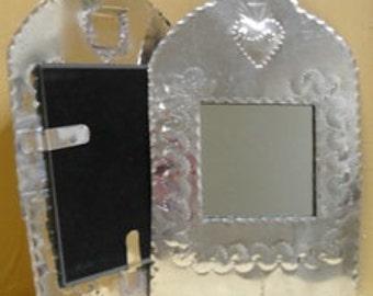 Tin Sacred Heart Mirror, handmade in NM