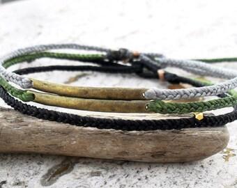 Mens bracelets Braided friendship bracelet - waxed nylon with metal link bar