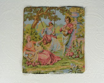 Vintage tapestry marked France victorian scene pink blue green gold