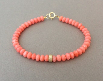 Pink Coral Stone Layer Beaded Bracelet