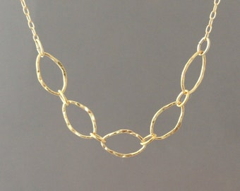 Gold Fill Hammered Five Link Necklace also available in Sterling Silver