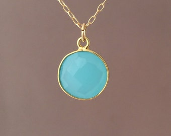 Gold Blue Chalcedony Circle Necklace Long or Short