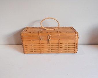 Vintage Purse Woven Bamboo Box Summer Oriental Handbag Japanese