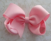 Large Pink Twisted Boutique Bow - 4 inch Bow - Baby Hairbow - Girls Hairbow