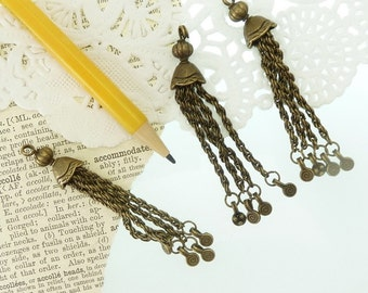 3 antique bronze  chain tassel for jewelry making