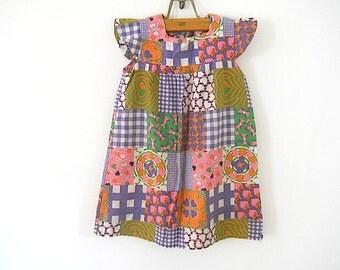 Vintage Little Girl Summer Dress, Handmade Sundress For Daughter, Retro Striped Dress For GIrl, Fourth of July Party Dress