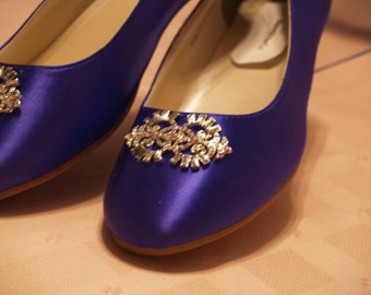 Wedding Flat Shoes Purple With Brooch