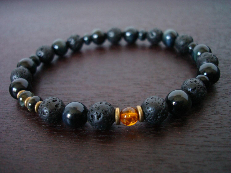 s healing calming mala bracelet lava rock blue