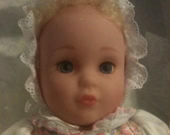 """Laura Ashley 12"""" Heather Baby Vintage Doll 1994 vinyl body"""