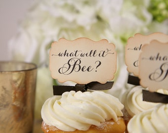 Baby Shower Cupcake toppers, What will it bee, Vintage, part of a collection