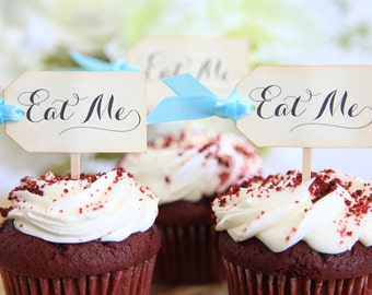 Eat Me Cupcake toppers, Alice in Wonderland, Wedding, Birthday, Baby Shower