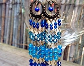 Ariadne - Long Blue Beaded Chandelier Earrings
