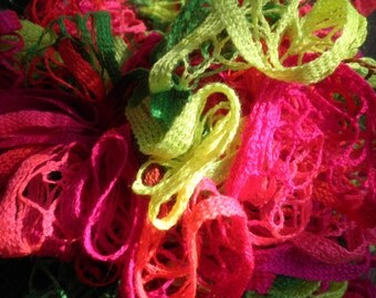 Ruffled Scarf, Neon Colors, Free Shipping