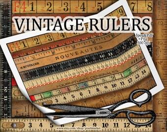 Vintage wooden RULERS Cliparts Ruler Diecut Measuring Tape Borders Collage Sheet Printable Download Digital Scrapbooking e15