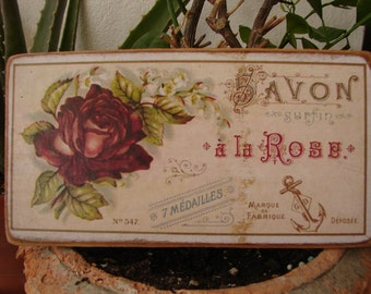 Shabby red roses,vintage French savon a la rose,soap advertising label,wooden sign