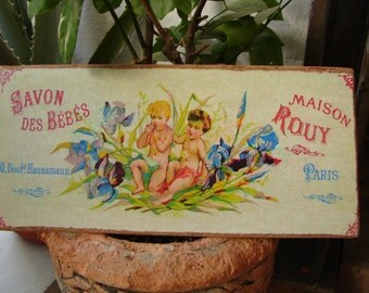 French cherubs soap label,savon des bebes,vintage French shabby chic advertising wooden sign.