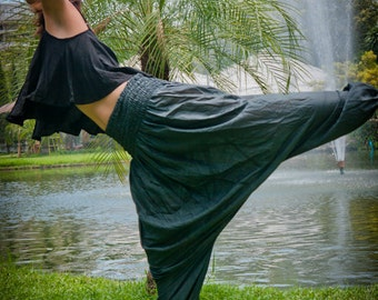 Harem Pants, Cotton, Dark Grey--Drop crotch style