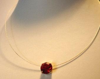 Red Necklace Single Stone Dark Red Glass Rhinestone Chaton Pendant Ladies Contemporary Jewellery Gift