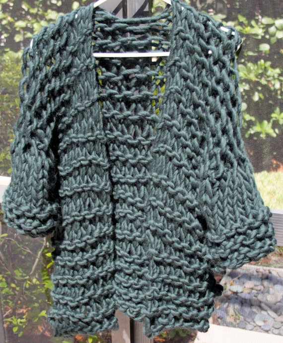 Knitting Patterns Bulky Yarn Sweater : NEW Hand Knit Designer Sweater Super Bulky Yarn in Forest