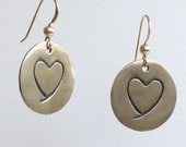 Bronze Heart Coin Earrings on Gold-Filled Earwires