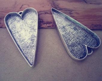 6pcs 51mmx28mm  Antique silver Heart Love Cabochon Pendant Base