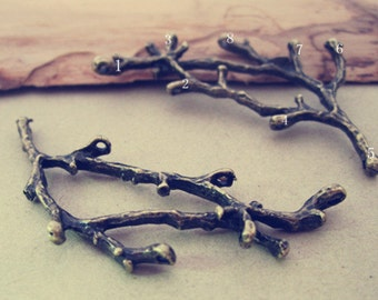 10pcs Antique bronze tree branches (with 8 hole) pendant charm 27mmx60mm