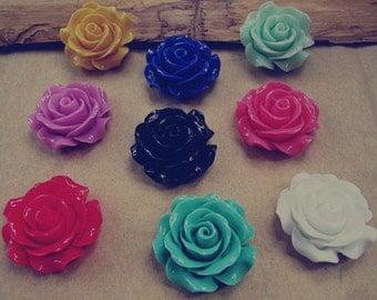 10pcs assorted Color (9 color) Resin Flowers Rose 28mm